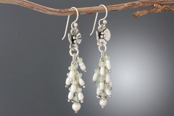 Sterling Silver Dogwood Earrings with Pearl & Prehnite Stone Cluster
