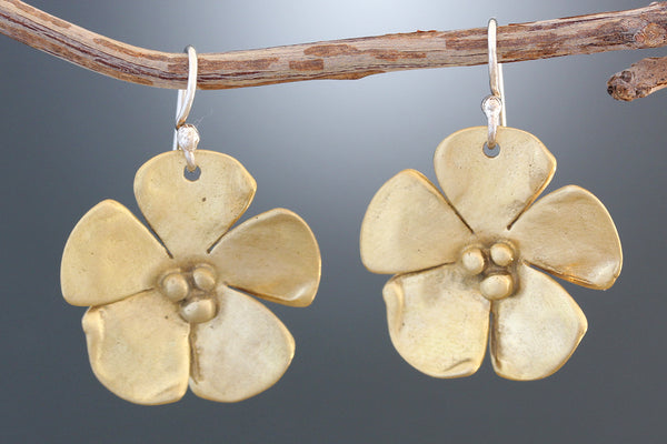 Brass Dogwood Flower Earrings