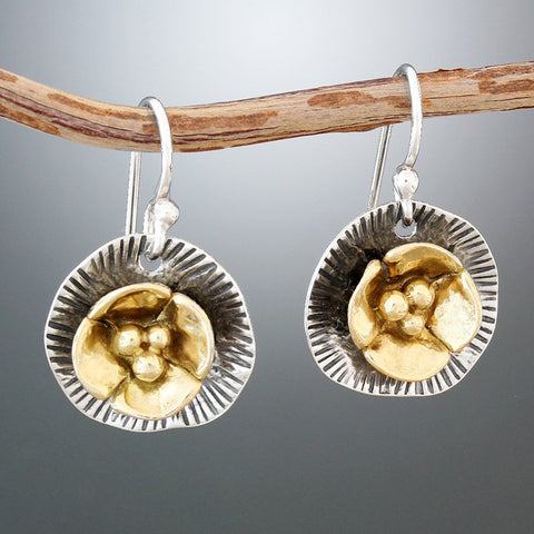 Sterling Silver and Brass Lily Pad Earrings