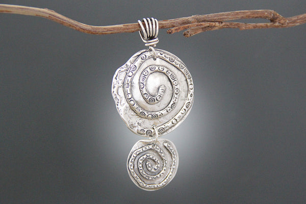 Sterling Silver Double Snake Spiral Pendant