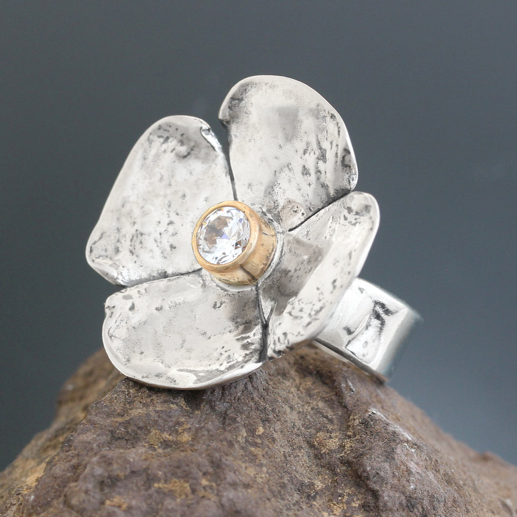 Large Dogwood Flower CZ Ring