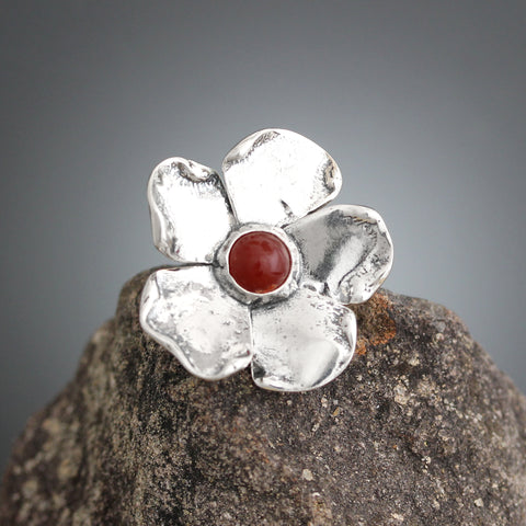 Carnelian Flower Scatter Pin