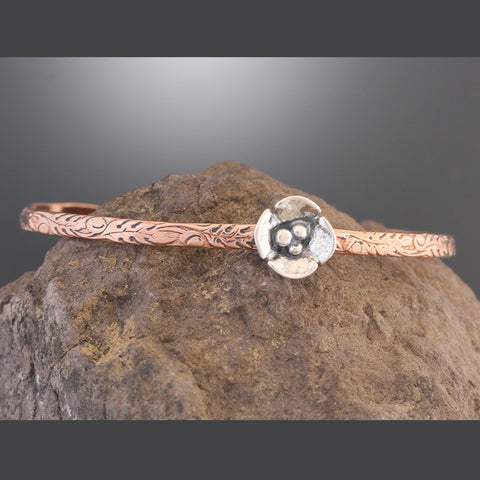 Copper Cuff Bracelet with Small Sterling Silver Dogwood Flower