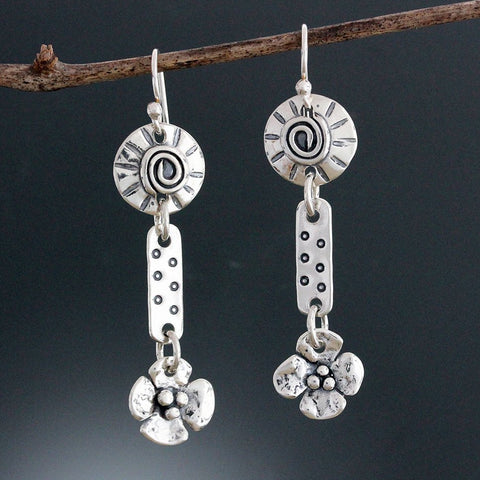 Sterling Silver Short Element Earrings