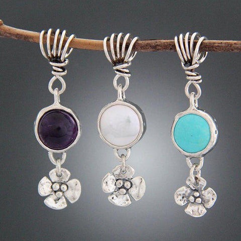 Sterling Silver Pearl, Amethyst or Turquoise Pendant with Dogwood Flower Drop
