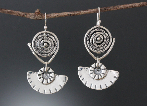 Sterling Silver Textured Spiral and Fan Jewelry Set