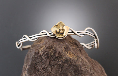 Sterling Silver Wrapped Vine Cuff with Brass Dogwood Flower