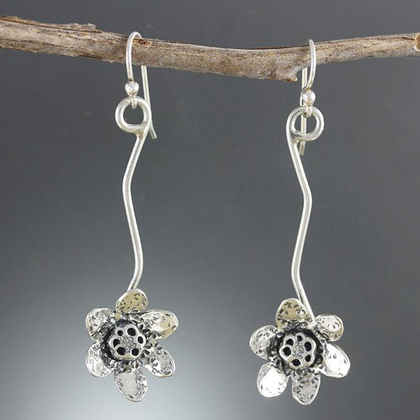 Sterling Silver Lotus Flower on Vine Earrings