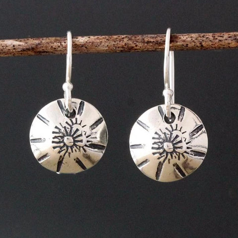 Sterling Silver Sunburst Stamped Earrings