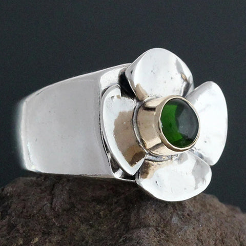 Sterling Silver Flower Ring with Green Tourmaline in 14k Gold Bezel - Size 6