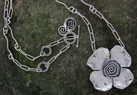 Sterling Silver Long Floral Statement Necklace