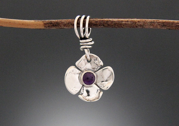 Sterling Silver Dogwood Flower Pendant with Turquoise or Amethyst