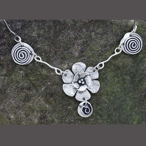 Sterling Silver Double Dogwood and Rose Spiral Necklace