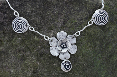 Sterling Silver Double Dogwood and Spiral Necklace
