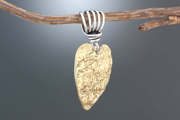 Reticulated Brass Heart Pendant
