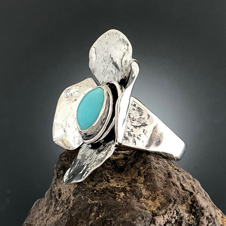 Sterling Silver Large Dogwood Flower with Turquoise Ring