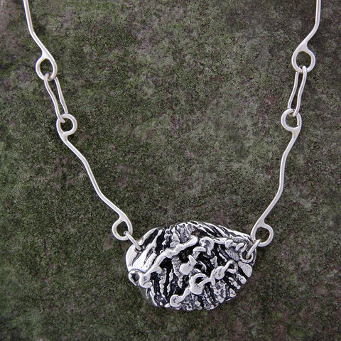 Sterling Silver Walnut Necklace with Vines