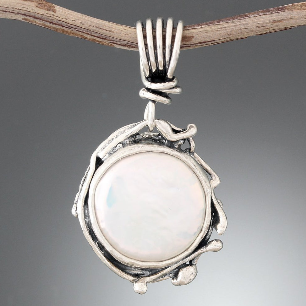 Coin Pearl Pendant with Wrapped Vine Bail