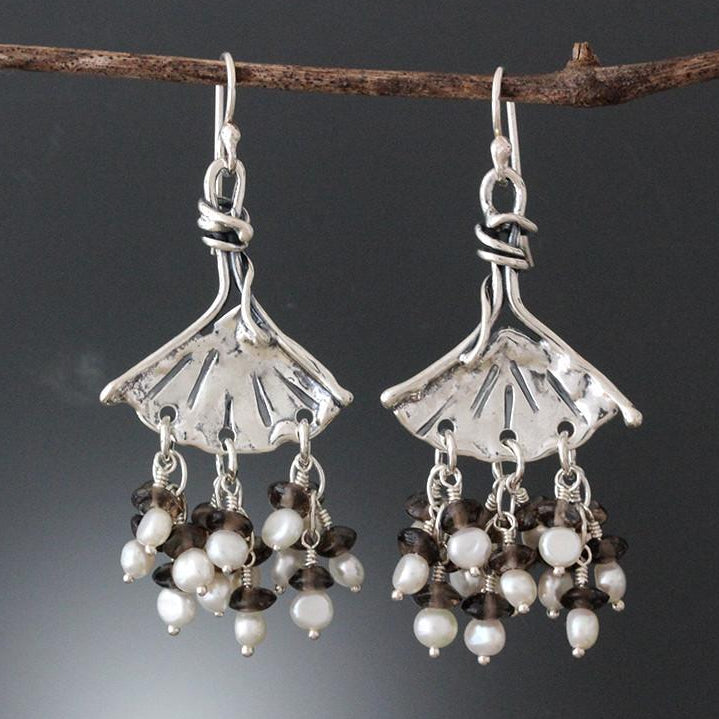 Sterling Silver Ginkgo Earrings with Pearl & Smoky Quartz Clusters