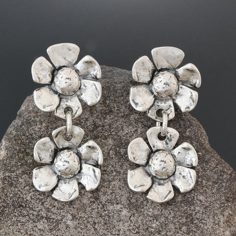 Sterling Silver Double Daisy Earrings