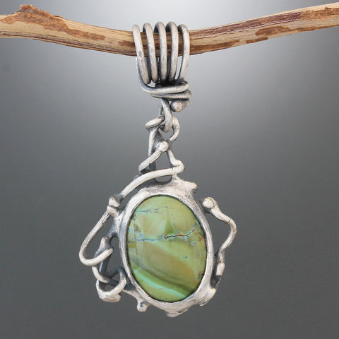 Matte Finish Sterling Silver and Green Turquoise Vine Pendant