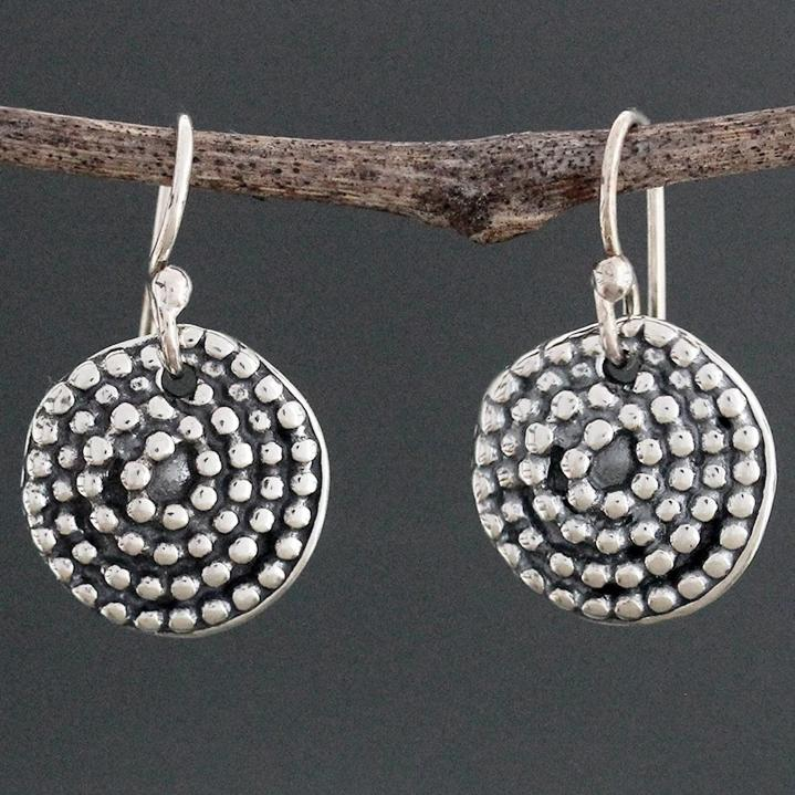 Sterling Silver Beaded Spiral Earrings