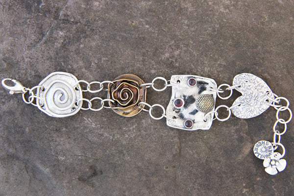 Mixed Metal Four Element Bracelet with Garnet or Amethyst
