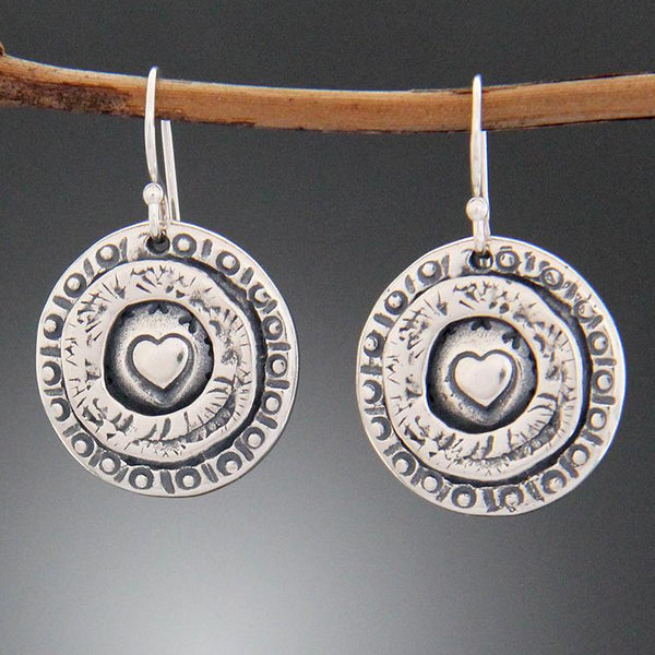 Sterling Silver Heart Stamped Earrings