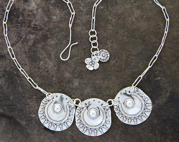 Sterling Silver Triple Shield Necklace
