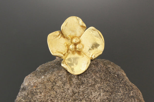 Medium Brass Dogwood Flower Pin