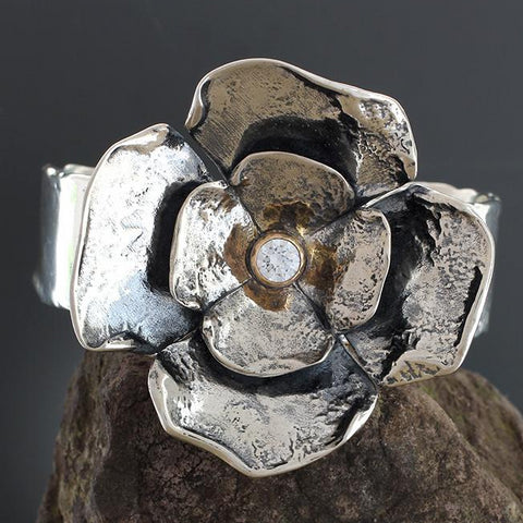 Sterling Silver Large Double Dogwood Flower with Cubic Zirconia in Gold Bezel Cuff Bracelet