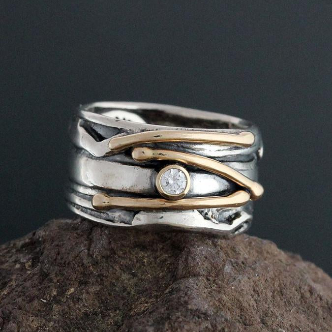 Sterling Silver Diamond Ring with Gold Vines