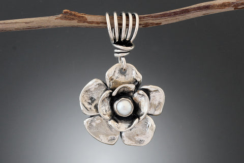 Sterling Silver Double Dogwood Flower Pearl Pendant