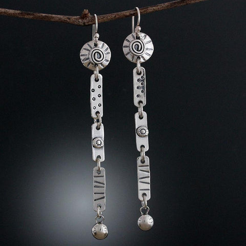 Sterling Silver Long Element Earrings