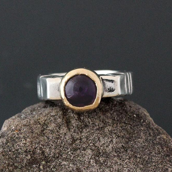 Sterling Silver & Gold Etruscan Amethyst Ring