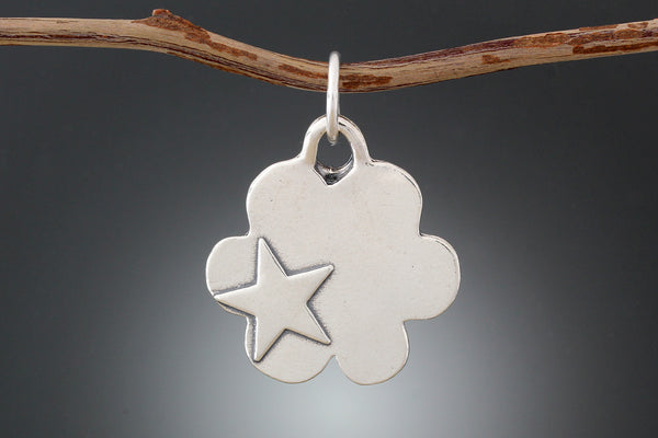 Sterling Silver Stamped Cloud Pet Tag
