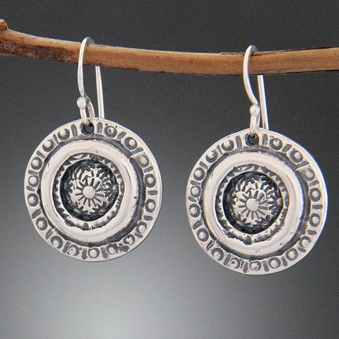 Sterling Silver Sun Stamped Earrings