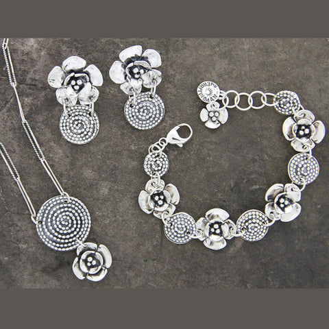 Beaded Spiral & Double Dogwood Flower Jewelry Set
