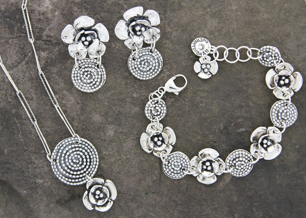 Sterling Silver Beaded Spiral Double Dogwood Flower Jewelry Set