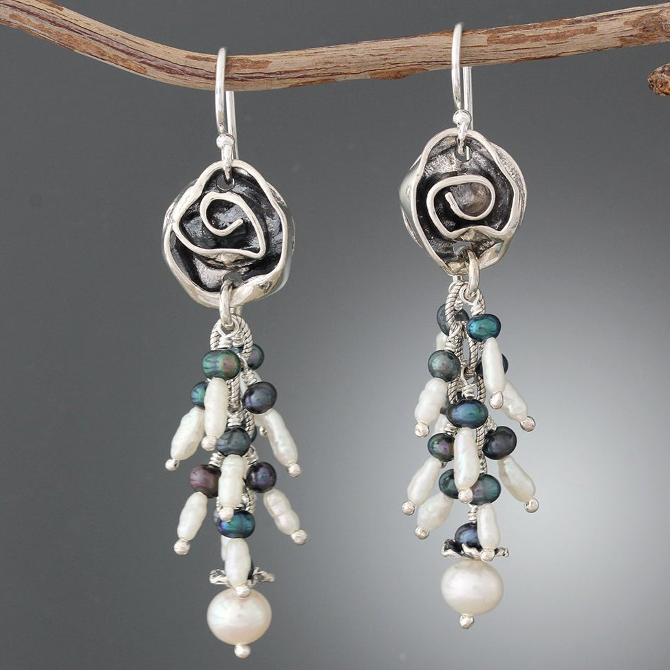 f6bd8e23c Sterling Silver Rose & Pearl Cluster Earrings – Sherry Tinsman Metalsmith