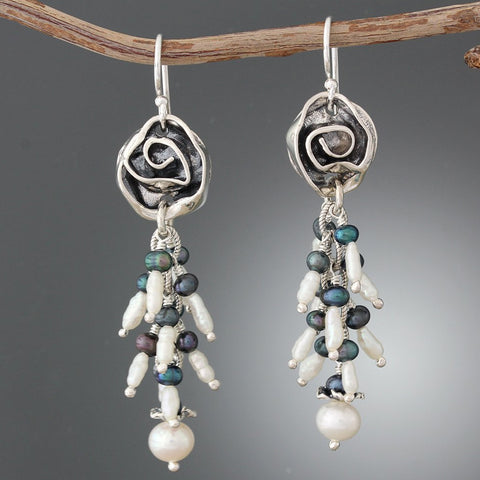 Sterling Silver Rose & Pearl Cluster Earrings