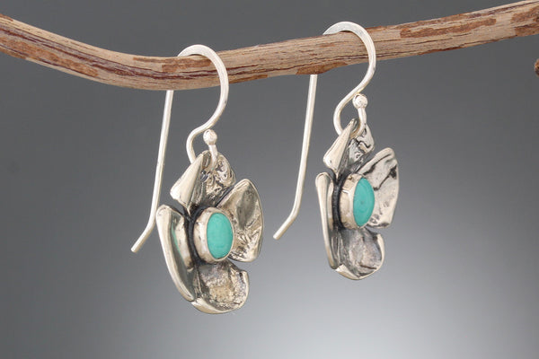 Sterling Silver & Turquoise Flower Earrings