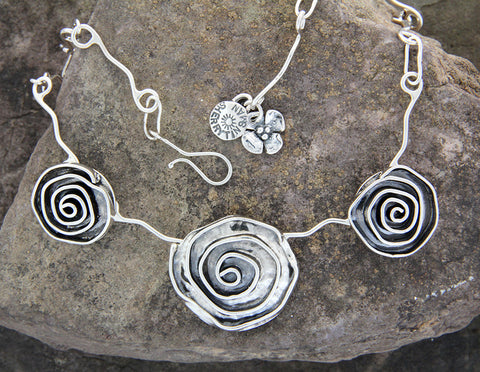 Sterling Silver Triple Rose Necklace