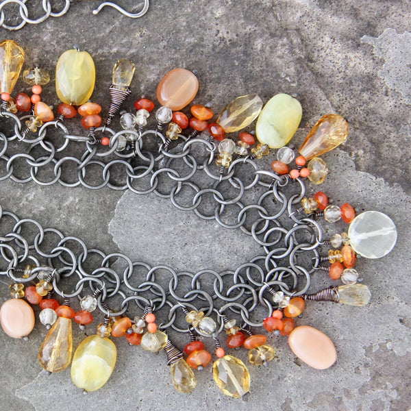 Oxidized Sterling Silver Orange Stone Necklace