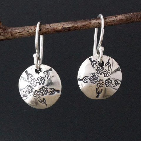 Sterling Silver Floral Stamped Earrings