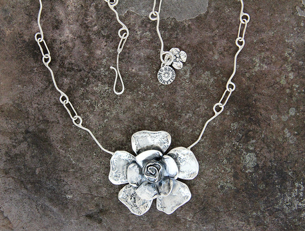 Sterling Silver Petal Rose Flower Jewelry Set
