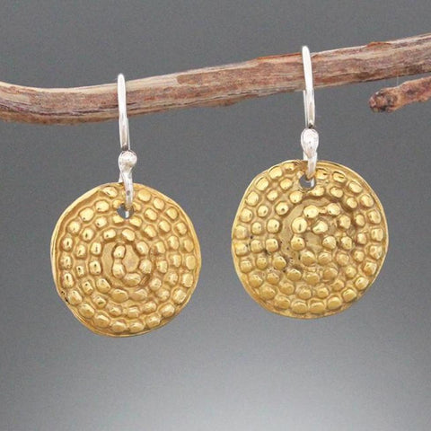 Brass Beaded Spiral Earrings