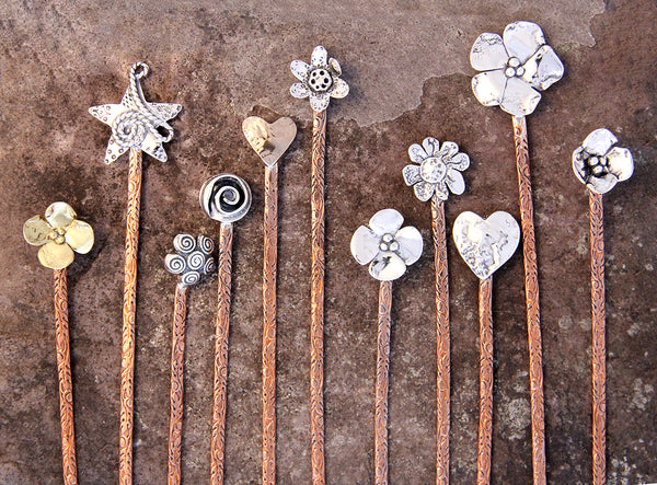 Copper and Brass Flower Hair Stick