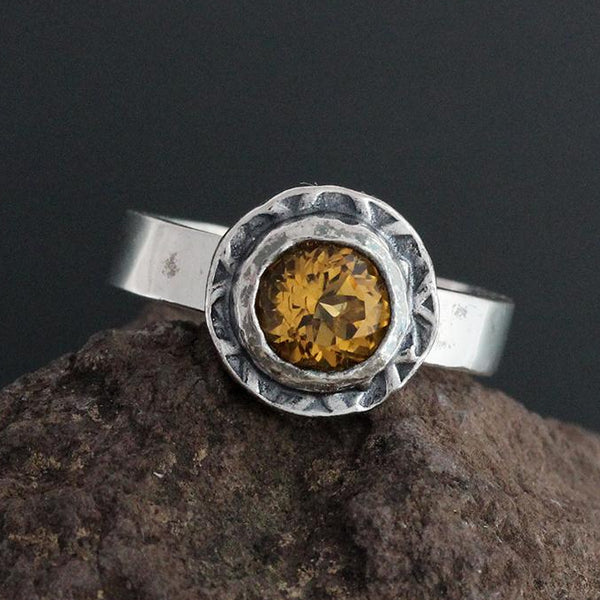 Sterling Silver and Faceted Citrine Ring