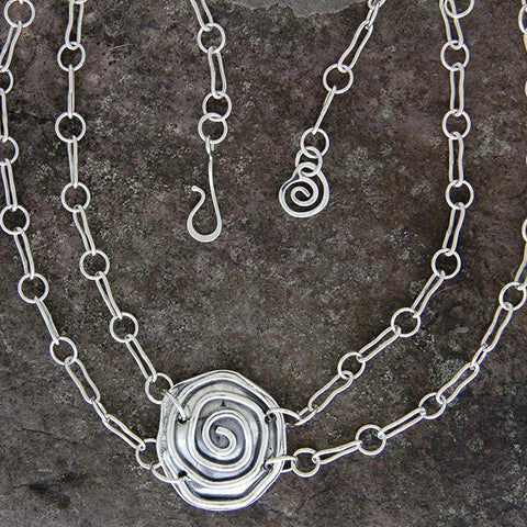 Sterling Silver Double Chain Spiral Necklace